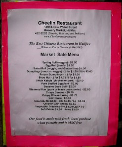 Cheelin Restaurant's market menu!!