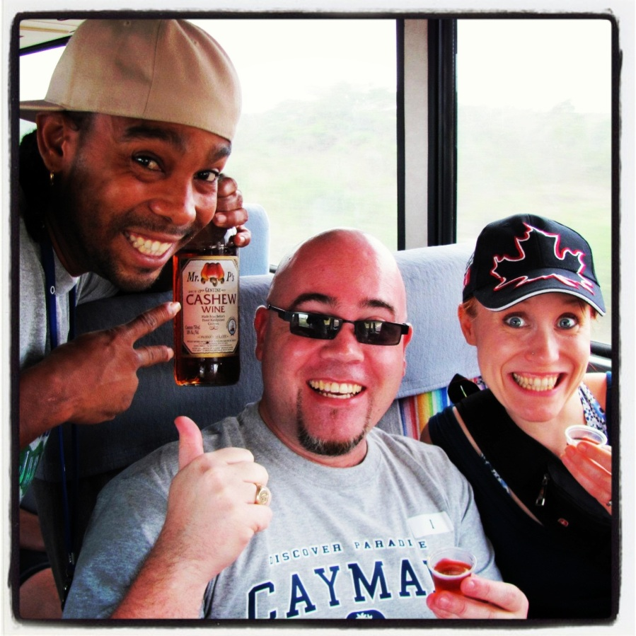 "03-22-12 -- I loved this day. This picture was taken en route to the jungles of Belize so we could go cave tubing. Seriously. For reals. Anyhoo...""Speedo"" decided to break out the cashew wine on the bus so we could all enjoy a little taste of the local adult beverage. Fun times!"