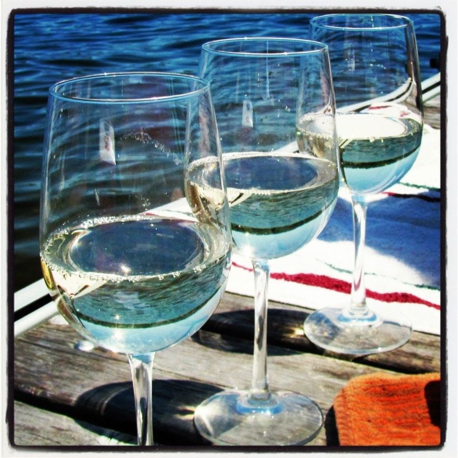 06-12-12 -- Love this pic! The ladies sipped wine along the water.