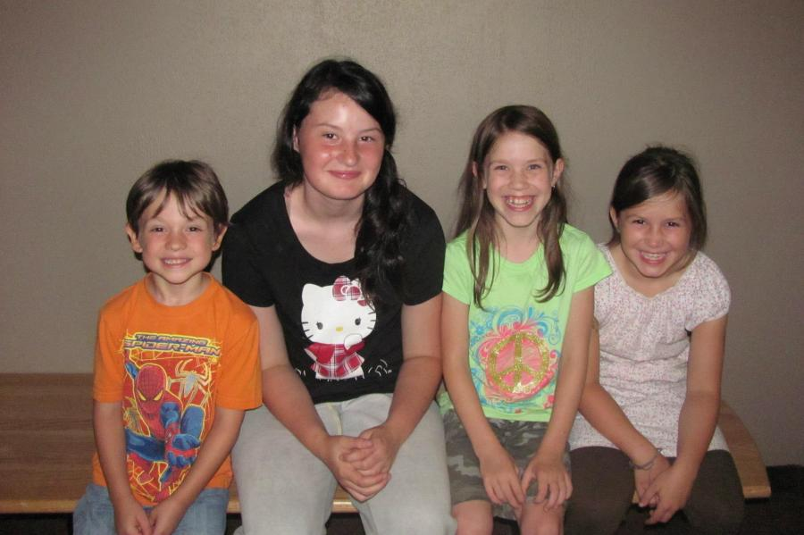 08-13-12 -- The Brood! This was the first pic of all four kids together during Rugrat's summer trip. I treasure these as they don't happen very often.