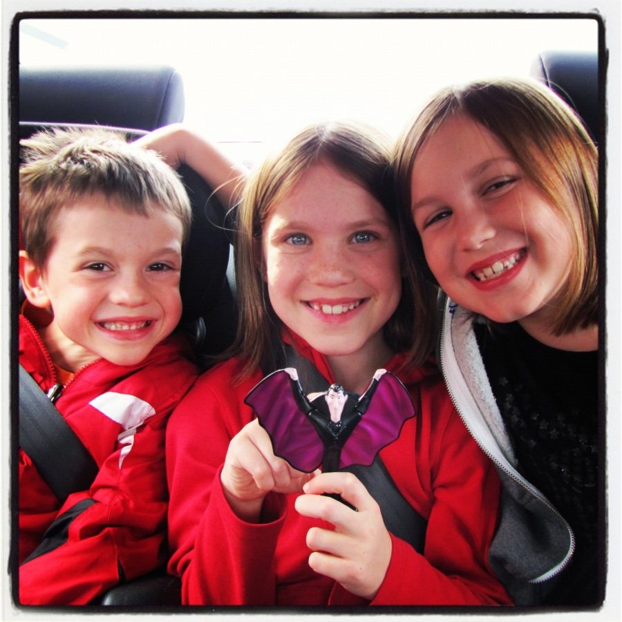 10-07-12 -- This would be 3/4 of The Brood gathering in the backseat so we can spend Thanksgiving together.