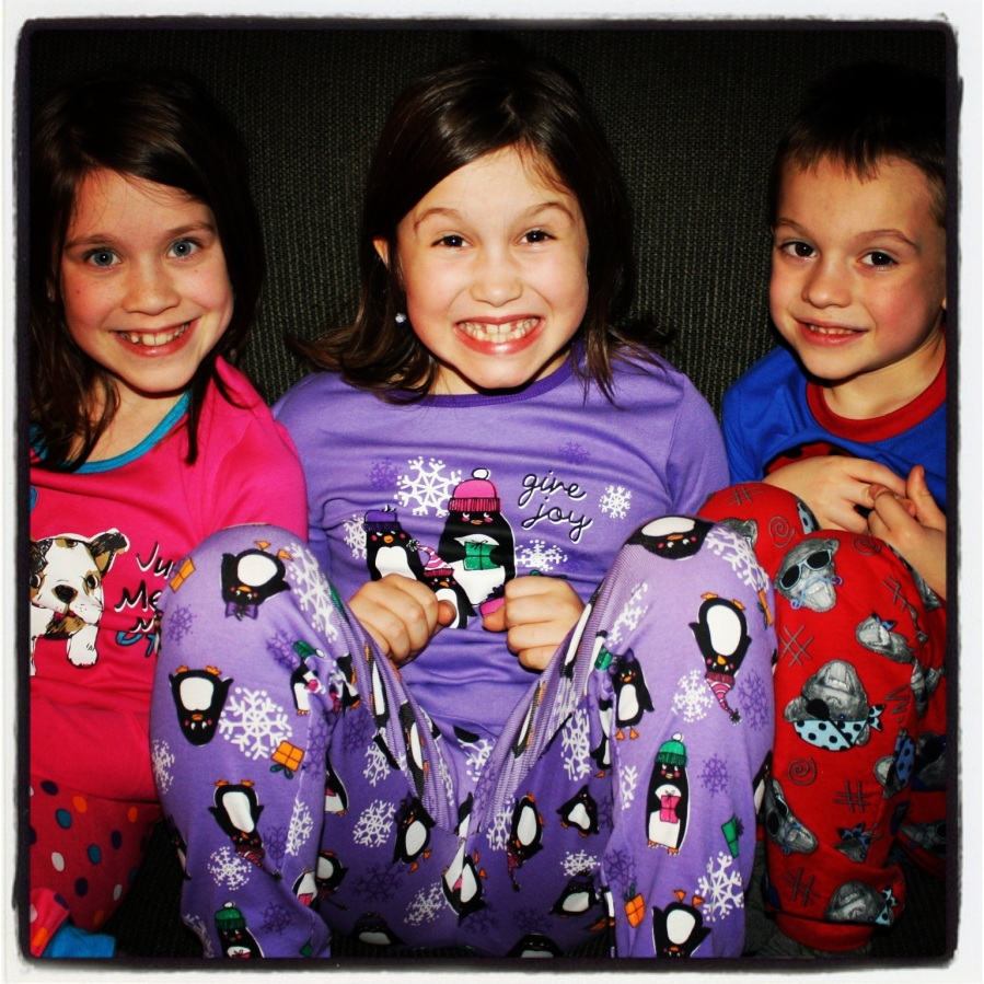 12-24-12 -- Christmas pajamas!! Every year we let the kids open one gift on Christmas Eve, and every year it's new pajamas. The kids don't seem to mind.