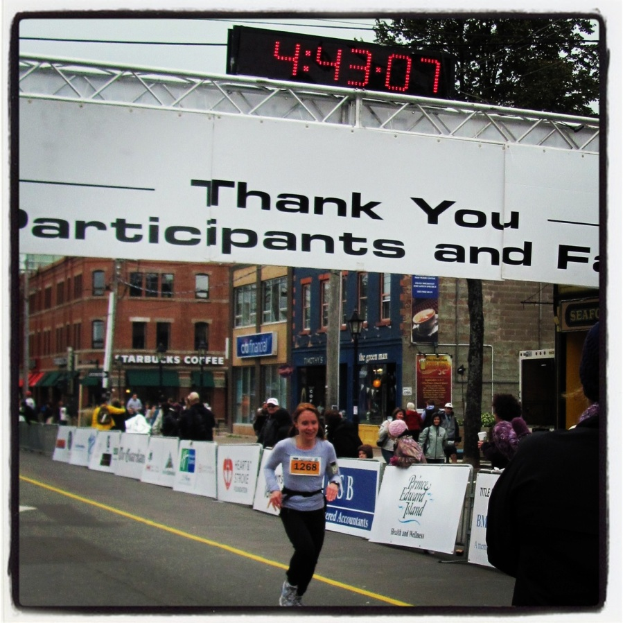10-14-12 -- I couldn't have been more proud to watch Sunshine cross that finish line. She blew away her marathon expectations and proved to herself that she could do anything if she put her mind to it.