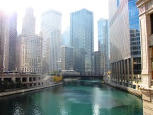 View of the Chicago River from the bridge on Michigan Avenue.