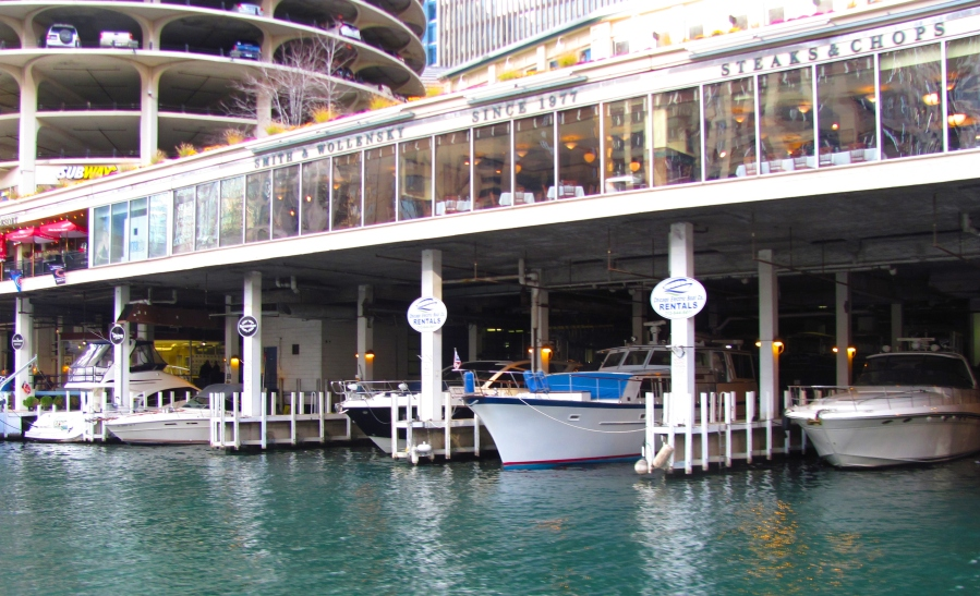 "A photo of ""Marina City"" from the Chicago River. Although there are docks under Marina Towers, there are no transient docks available; therefore, you cannot enjoy these restaurants while on your boat. There also used to be a fueling dock but it is no longer operational."