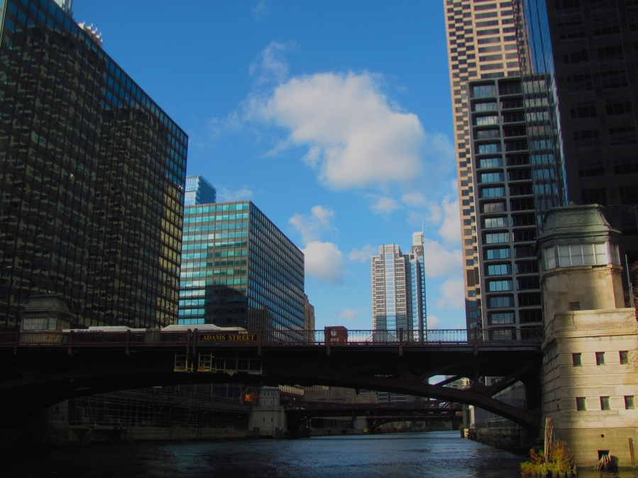 The unique view of Adams Street in Chicago from the Chicago River.