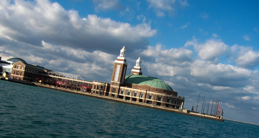 The view of Navy Pier from Lake Michigan.