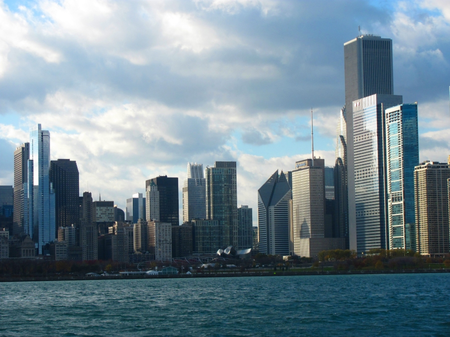The view of Millennium Park and Downtown Chicago from Lake Michigan.