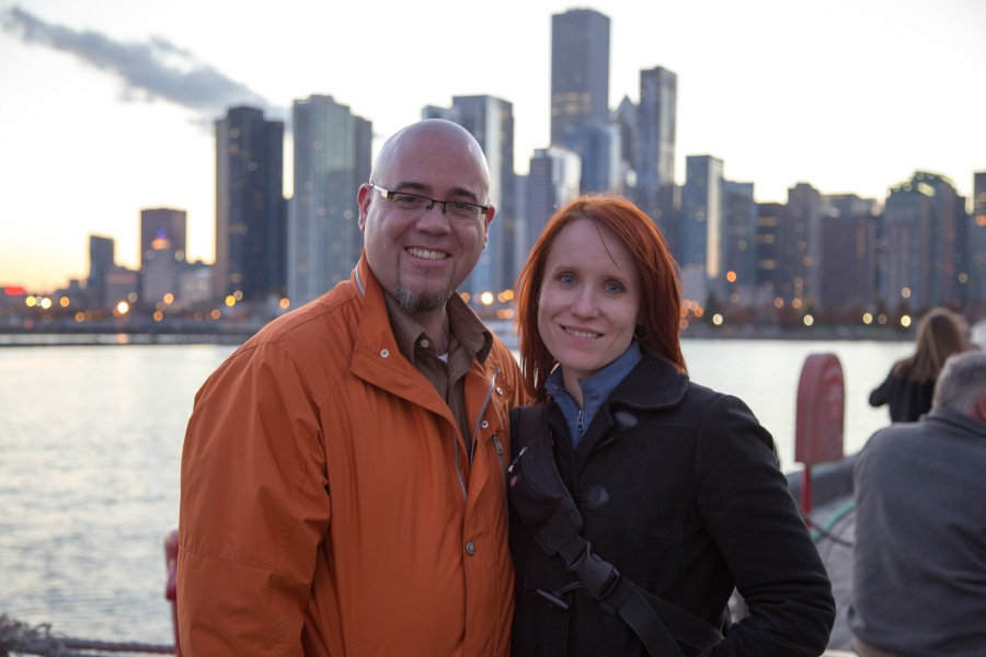 Random took this fantastic photo of Sunshine and I while on Navy Pier with the Chicago skyline in the background. Thanks, friend!