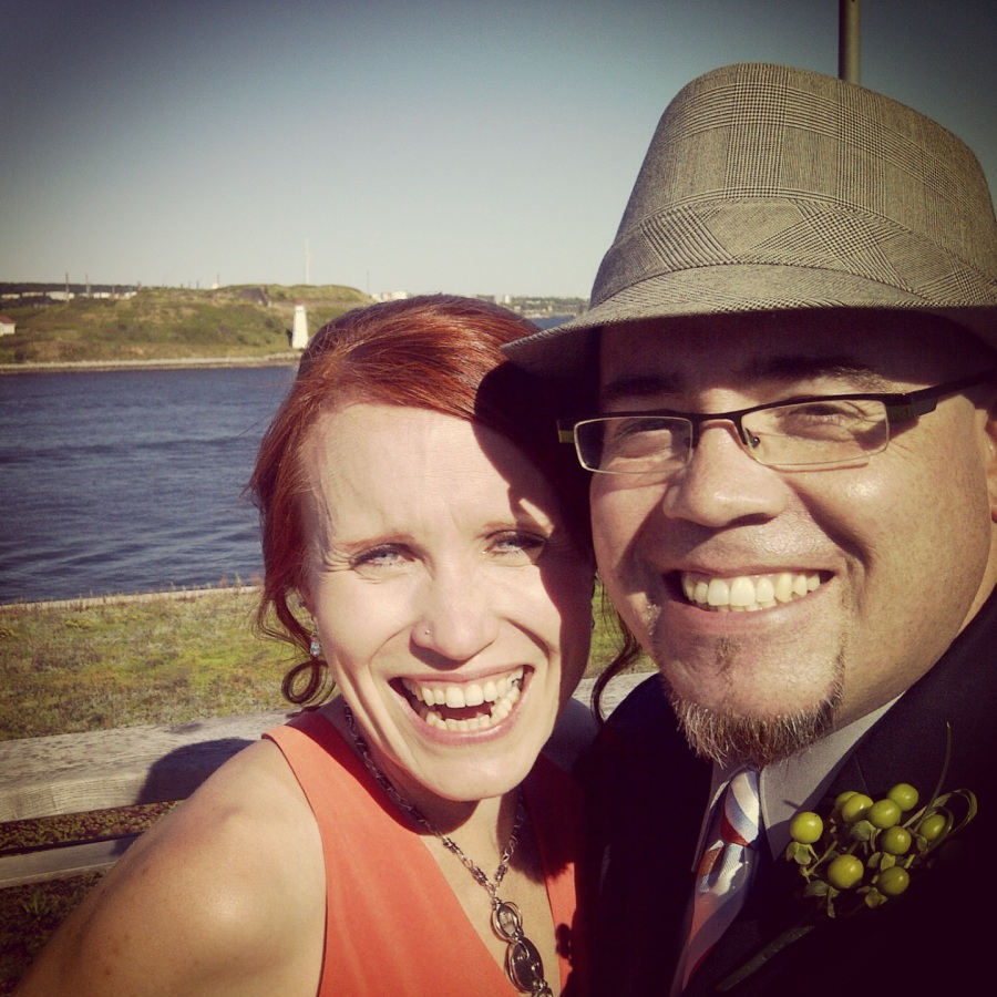 This was the first selfie we took (from the alter, no less) of us as a married couple.