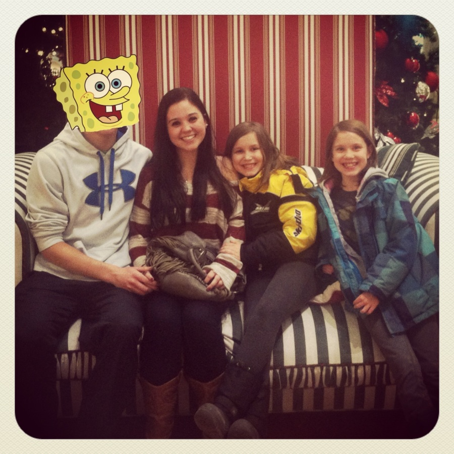 We got the kids to sneak a pic on Santa's chair at the mall when he wasn't there. The Spongebob on the left is another ex-boyfriend of my eldest daughter. Oh well...