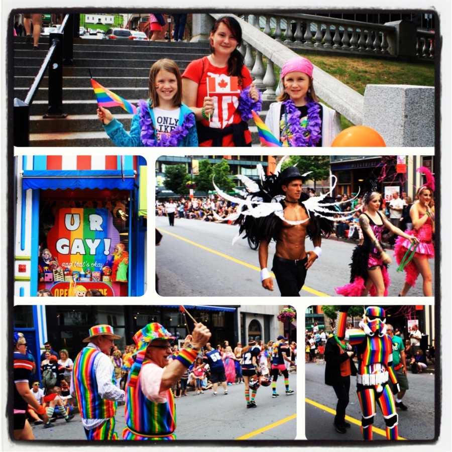 In July, Sunshine and I took the girls to the Halifax Pride Parade. It was Rugrat's first time attending a Pride parade, and we were proud to oblige her. This was a fun event and one I try to see every year. It's important for the kids to see this, too.