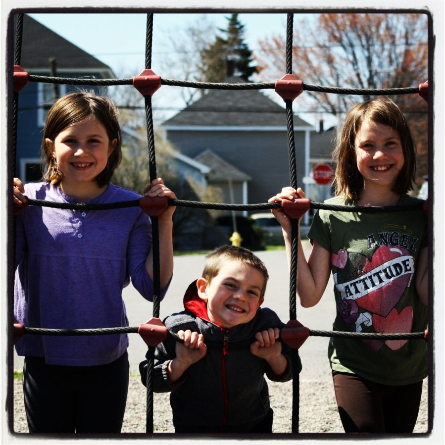 The three youngest kids in this awesome blended family have always gotten along famously. On this beautiful May morning, they were having a ton of fun playing together. It makes Sunshine and I very happy.