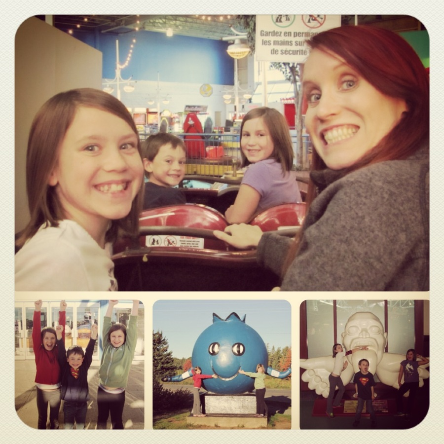 A family trip to the local indoor amusement park! The top pic was taken on the rollercoaster.