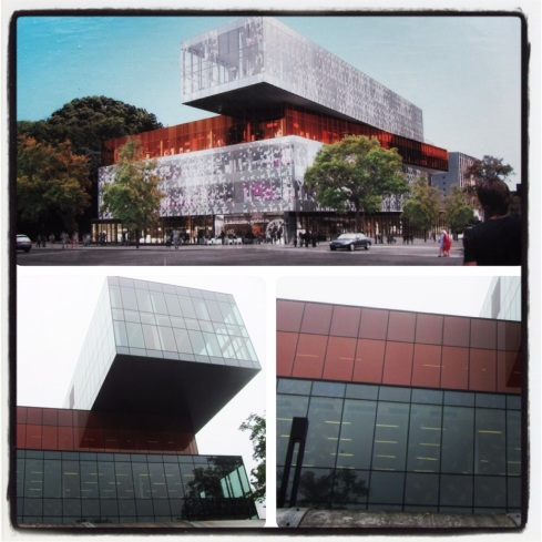 Halifax is getting a new public library. The pic on the top is an artist's rendering and the bottom two are pics of the actual structure. It's...ummm...different. It's all modern and such. It's supposed to look like a stack of books. Ummm...yeah?