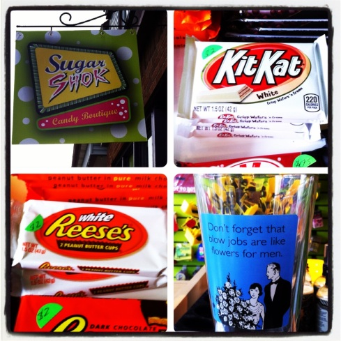 We made our way to the car and drove ourselves across the bridge to Dartmouth. We found an independent candy store called Sugar Shok. Inside we found the greatest sweet I've found in a VERY long time: the white chocolate Reeses peanut butter cup. $2 for two cups...worth every penny!