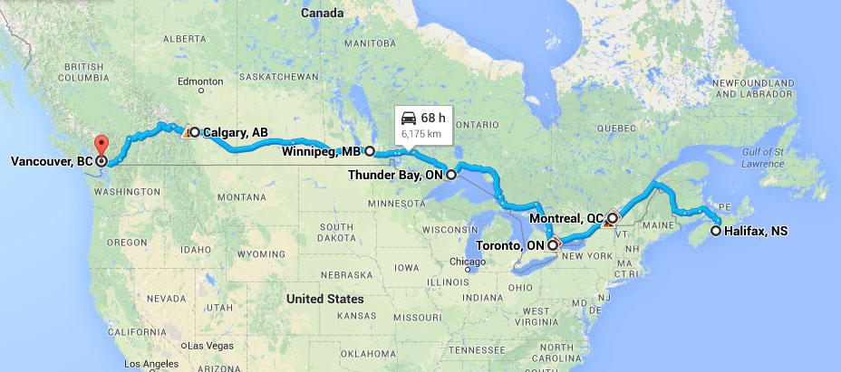 Driving Across Canada Map