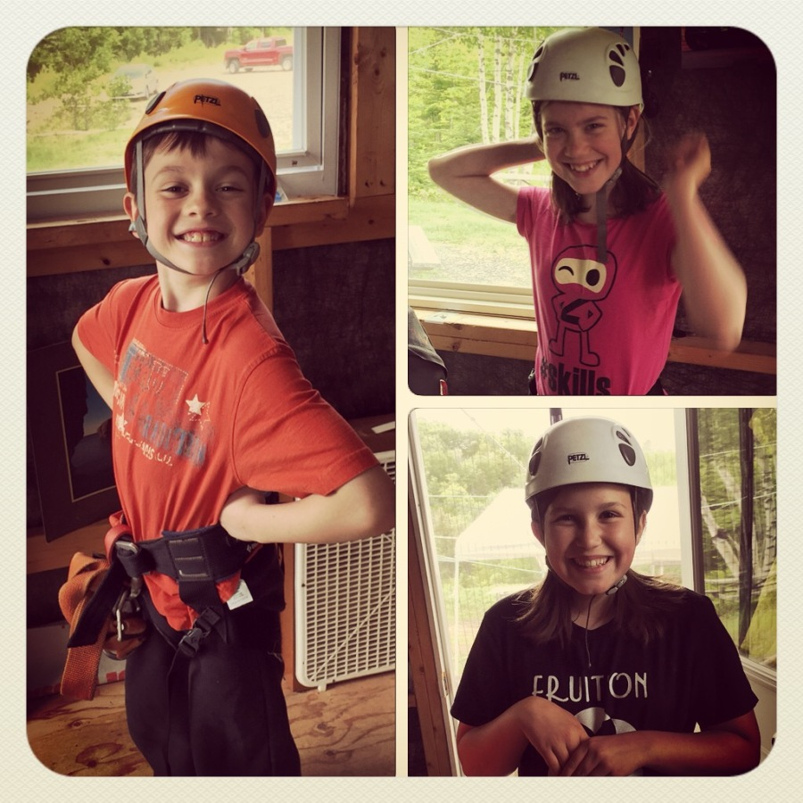 Ziplining kids