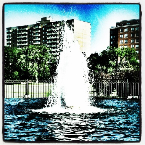 The vacation started with me still hitting the pavement every day. My workout routine varies from day to day, but on this particular morning I went to the Halifax Common and took a photo of the fountain located in the center of the park.