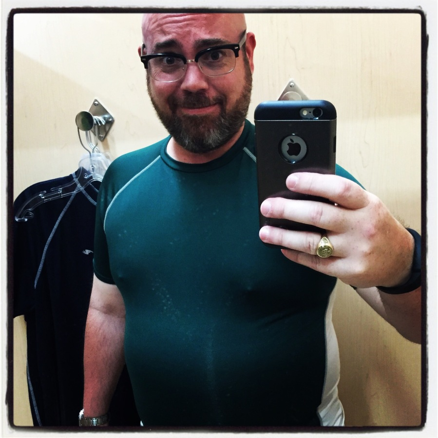 Where I've been working out and losing weight, i thought I would try on some sports-related clothing. While I'm really happy with the weight I've lost, even I had to recognize that this shirt was too tight. But honestly, I NEVER take selfies in a mirror...but I had to send this to Sunshine because I didn't think I looked too bad. :-P