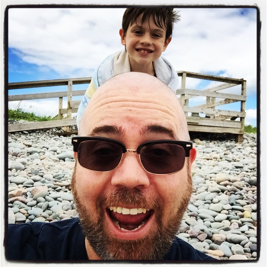 "My son was the first one out of the water, so he got the ""privilege"" of taking the first vacation selfie with me!"