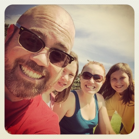 With two kids occupied, I took a quick selfie with my wife and two awesome stepdaughters.