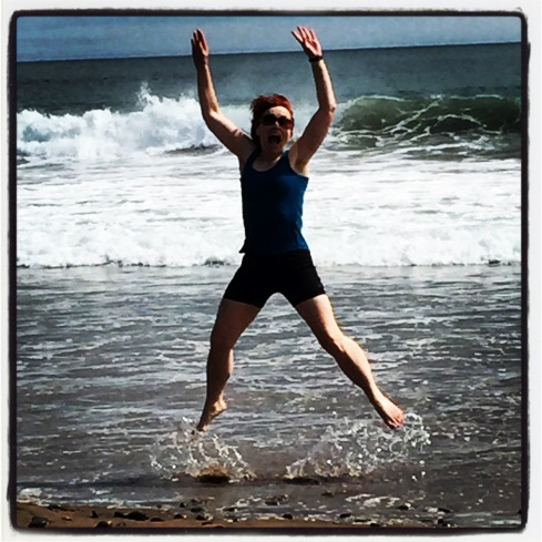 Sunshine loved the beach so much that she jumped for joy...literally. I love it when she's this happy.