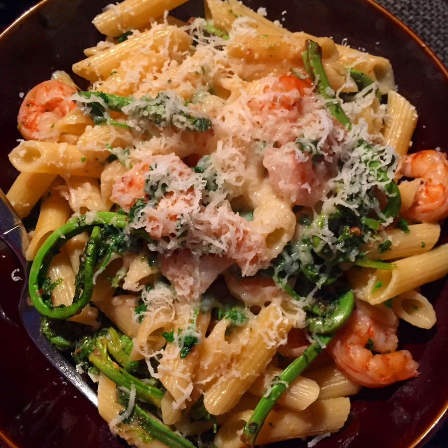 Its fiddlehead season, which means that Sunshine cooked up an incredible lemon-shrimp-fiddlehead pasta to end our weekend. Im SUCH a lucky man!!