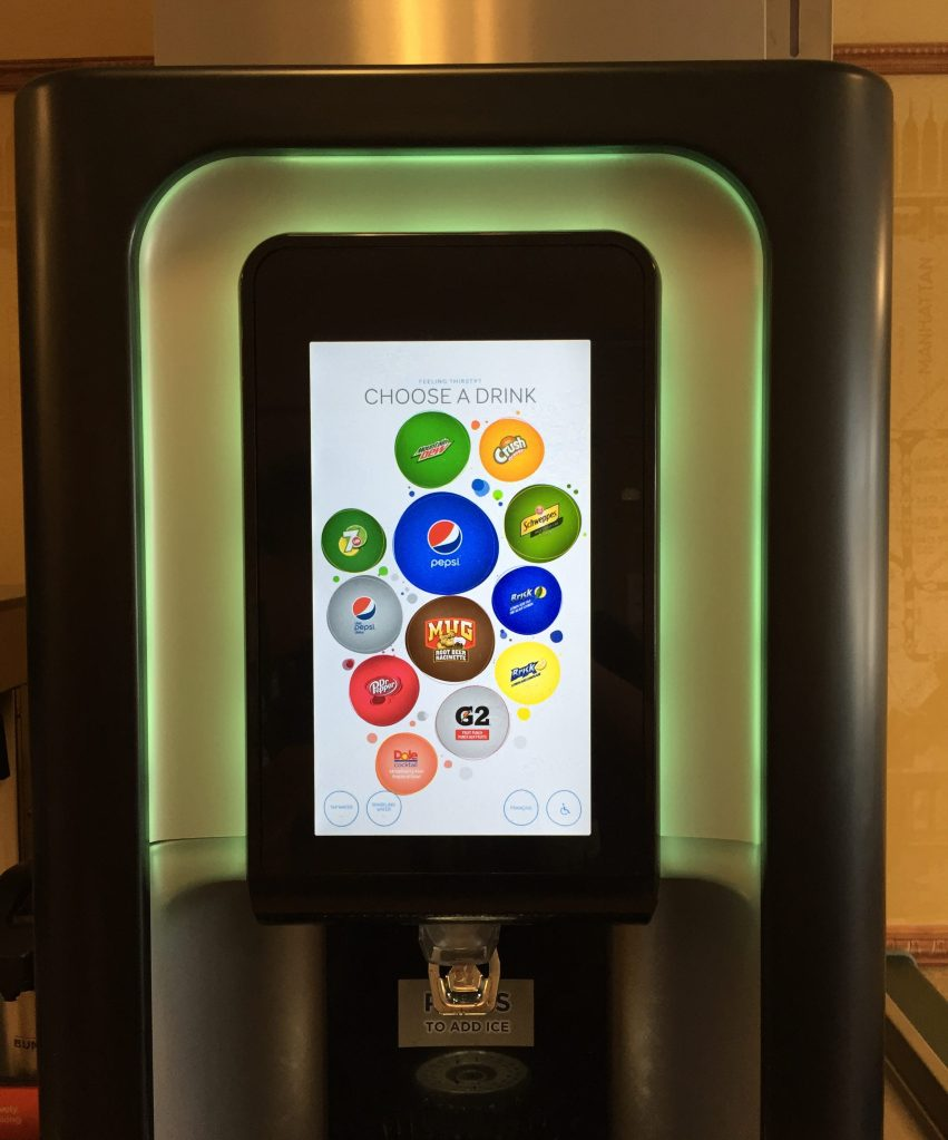 The screen was completely animated as opposed to the buttons on the bottom of a normal fountain machine) and you could press for whatever flavour you wanted.