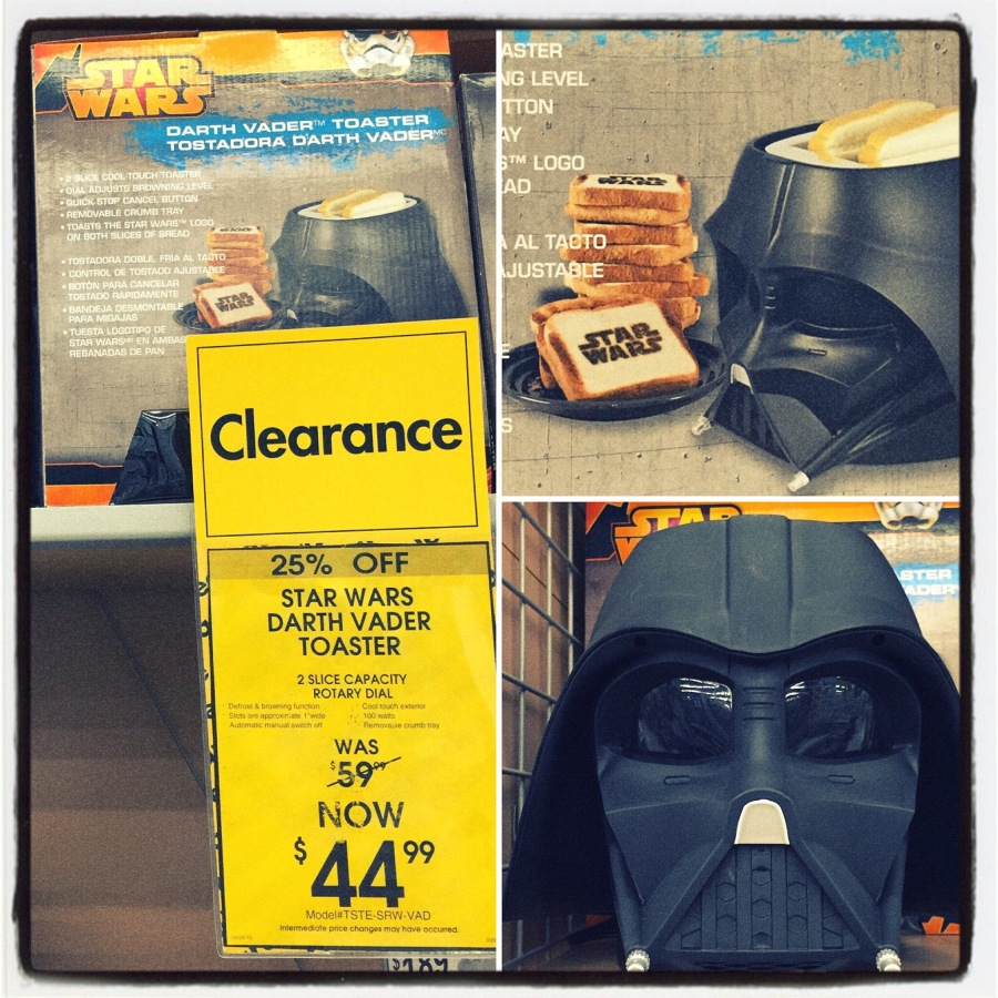 While at the local Bed, Bath, & Beyond I found the most incredible item. It was a DARTH VADER TOASTER!! Do I need something like this? Of course not, but when I noticed that it actually printed STAR WARS into the toast, I asked for it as a birthday present. I just have to wait until September to be disappointed when Sunshine doesn't buy it for me. :-P