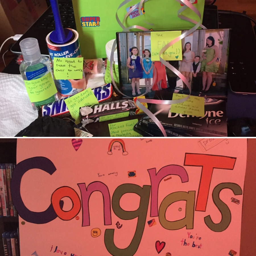 "I had a big pile of awesomeness and a ""Congrats"" sign waiting for me when I got home from work. My family really is the best."