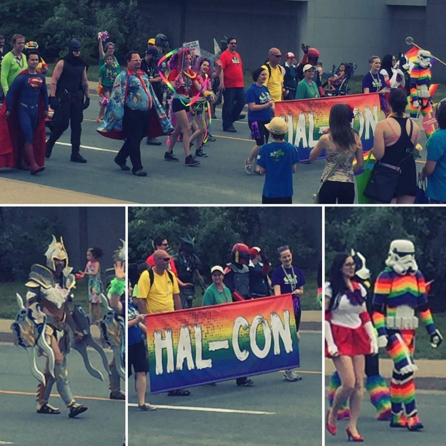 This was my son's favourite part of the parade. While no San Diego Comic Con, the local Hal-Con has grown in popularity over the past few years. To watch a rainbow-coloured stormtrooper walk by was really cool to him.