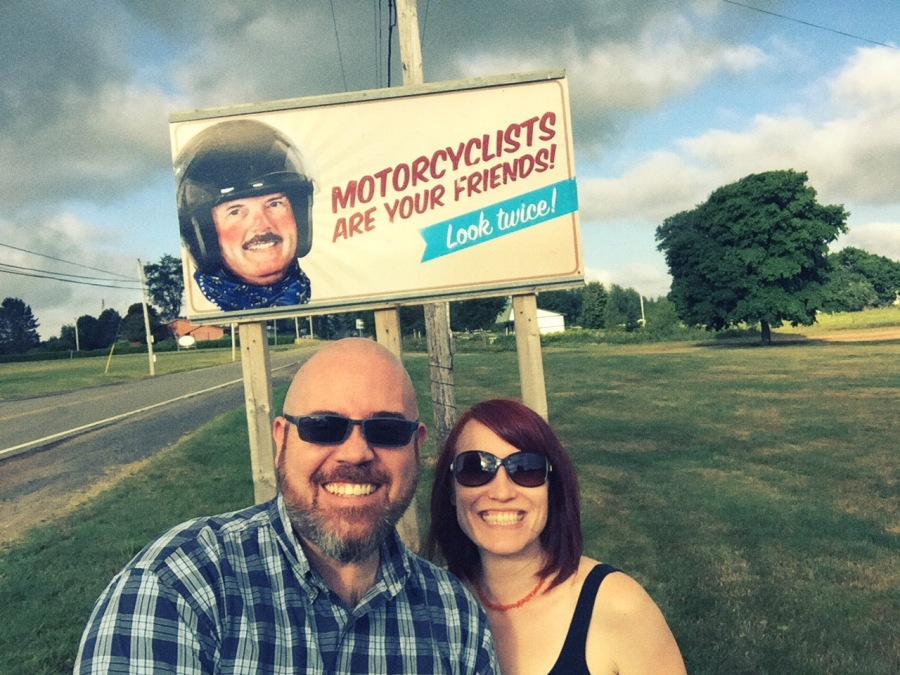 We made quite a few stops along our 5+ hour trip. The first was a pit-stop in Amherst, Nova Scotia. For whatever reason, we saw this motorcycle sign and thought it was hilarious. I mean...it looks like it's straight out of the 1950's or something. Or maybe it was just us.